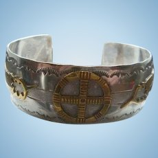 Sterling GF Native American THOMAS Bracelet Cross in Circle Feather Arrow