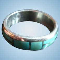 Native American Silver and Turquoise Inlay Men's Ring Size 11.25 Band