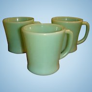 Three Fire King Jadite D Handle Mugs in Excellent Condition