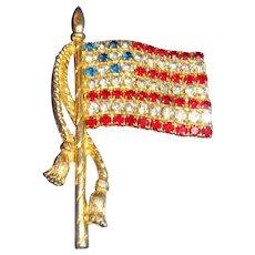 Patriotic Rhinestone Flag Brooch With Long Rope Tassels