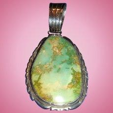 Navajo John Duran Large Sterling Turquoise Pendant