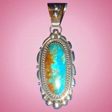 Stunning Navajo Large Bezel Set Turquoise Pendant Bead Ball Archie Martinez