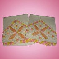 Hand Crochet and Tatting Vintage Pillowcases Flowers, Pinwheel and Cross
