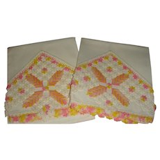 Hand Crochet and Tatting Vintage Pillowcases Flowers, Pinwheel and Cross