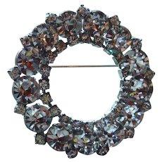 Large Clear Rhinestone Circle Brooch