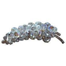 Large Juliana D & E Leaf Brooch Rhinestones and AB Crystal Beads Book Piece