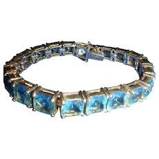 Sterling Silver and Sky Blue Topaz Rhinestone Bracelet
