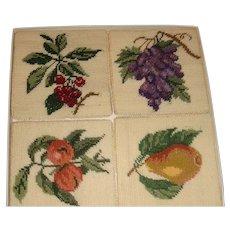 Boxed Set of 4 Like New Petit Point Needlework Fruit Coasters