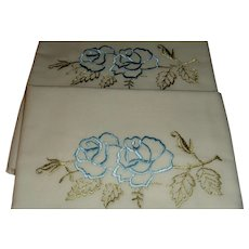 Vintage Embroidered Roses, Leaves and Vines Pillowcases
