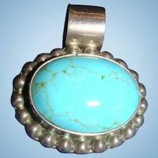 Robin's Egg Blue Mexico Sterling Turquoise Cabochon Beaded Pendant