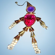4 Inch Articulated Court Jester Brooch with Rhinestones and Faux Stones