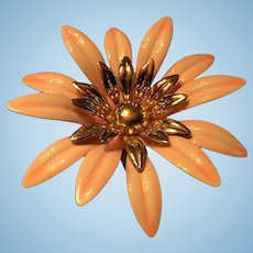 Large Dimensional Enameled Metal Flower Brooch