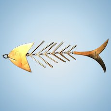 Extra Long Sterling Articulated Spiny  Fish Figural Pendant