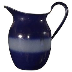 Early 1900s Two Tone Bluebell Graniteware Pitcher Cobalt