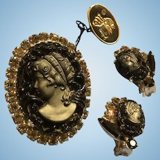 Original Tag Juliana Mourning Black Carved Glass Cameo Brooch and Earrings