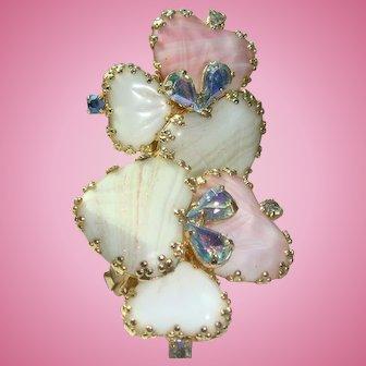Hobe' Heart Shape Art Glass Mayorka Petal Clip Earrings with Iridescent Rhinestones
