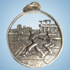 3 D Sterling Silver Baseball Charm with Batter, Catcher, Stadium, Reticulated