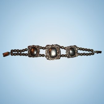 Mexico Sterling Silver Bead and Medallion Bracelet