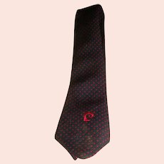 Vintage Pierre CARDIN Mens Designer Tie Navy Blue Red Dots