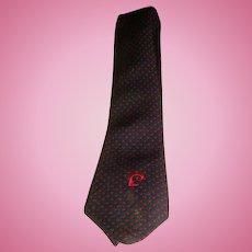 Vintage Pierre CARDIN Mens Designer Tie Navy Blue Red Dots