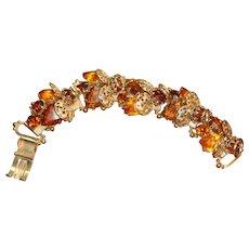 Ornate Filigree and Autumn Colored Rhinestone 5 Link Bracelet