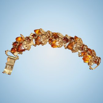 Ornate Filigree and Rhinestone 5 Link Bracelet