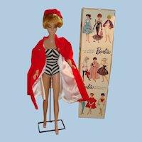 Blond Bubble Cut Barbie Original Box Top, Pedestal, Swimsuit, Red Flair Coat and Hat