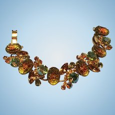 Stunning D & E Juliana Bracelet Pineapple Stippled Art Glass 1960's
