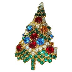 Large Eisenberg Ice Rhinestone Filled Christmas Candle Tree Brooch