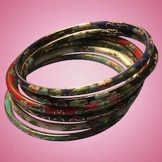 Set of 6 Colorful Enameled Cloisonne' Bracelets