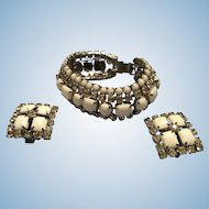 Gorgeous White Milk Glass and Clear Rhinestones Bracelet and Earrings