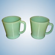 Two Fire King Anchor Hocking Jadite D Handle Mugs