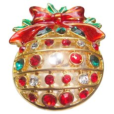 Enamel Bow and Rhinestone Decorated Domed Christmas Ball Ornament Brooch Pin