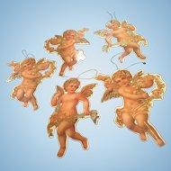 Set of 5 Vintage Cardboard Die Cut Angel Christmas Ornaments from 1980's