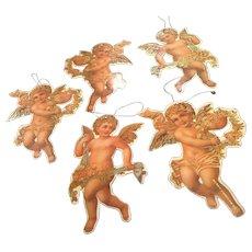 Set of 5 Vintage Cardboard Die Cut Angel Christmas Ornaments from 1980's