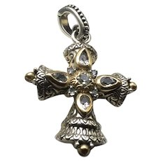 Vintage Barbara Bixby  Ornate 18K Gold Sterling Silver and White Topaz Cross Pendant, Enhancer