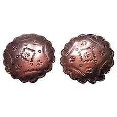 Large Taxco Mexico Sterling Silver Stamped Concho Clip Earrings
