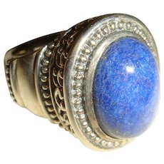 Size 6 Lapis Blue Cabochon Ring Filigree and Dot Sterling Silver Setting