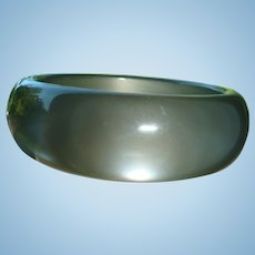 Pearl Gray Thick Lucite Domed Bangle Bracelet Larger Size