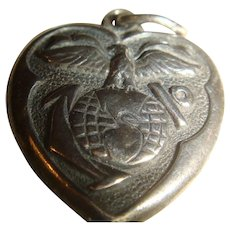 United States Marine Corps Double Sided Sterling Silver Puffy Heart Charm 1940's