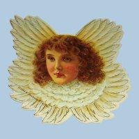 7 Vintage Cardboard Die Cut Angel Christmas Cherub Ornaments.