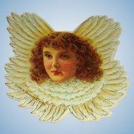 7 Vintage 1986 Cardboard Die Cut Red Hair Cherub Angel Christmas Ornaments