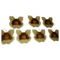 Set of 7 Vintage 1986 Cardboard Die Cut Brunette Cherub Angel Marked Christmas Ornaments