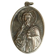 Large Sterling Charm Pendant Medal Sacred Heart of Jesus, Virgin Mother, Jesus Crowned