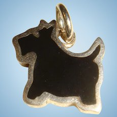 Sterling Silver Black Enameled Scottie Dog Charm Terrier Double Sided