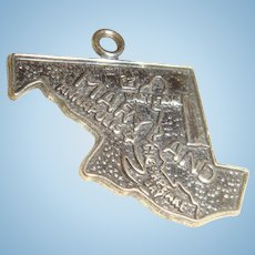 Sterling Silver Souvenir Maryland State Charm Annapolis, Baltimore, Chesapeake Bay