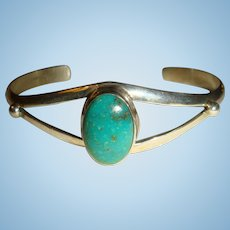 Native American Signed Sterling Silver Turquoise Open Front Cuff Bracelet