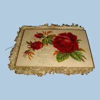 Victorian Fringe 4 Page Christmas, New Year Fold Out Cards Pink, Red, Yellow Roses