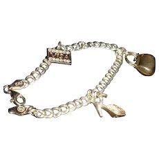 Sterling Charm Bracelet and Shopping Charms Mechanical Purse, Visa, Heels, Rhinestones