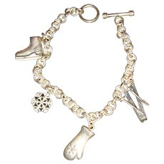 Sterling Silver Winter Theme Charm Bracelet, Snow Skis, Mittens, Ice Scates, Snowflake 25.4 Grams